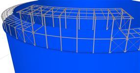 Ocelová konstrukce zastřešení meziprostoru velkokapacitních nádrží na ropné produkty