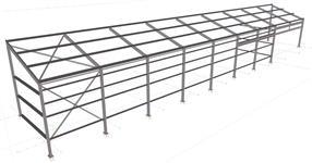 Ocelová konstrukce přístřešku sušárny chmele