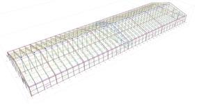 Ocelová konstrukce lehké haly pro zastřešení plachtou