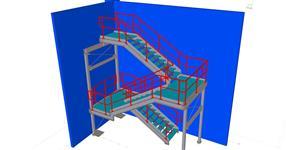 Ocelová konstrukce provozního schodiště
