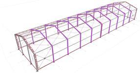 Ocelová konstrukce lehké skladové haly pro zatřešení plachtou