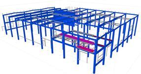 Pomocné ocelové konstrukce v železobetonovém skeletu výrobní haly