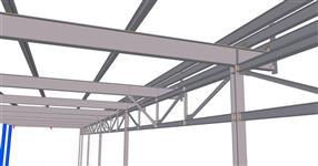 Ocelová konstrukce přístřešku u skladové haly