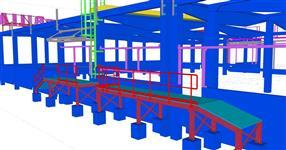 Pomocné ocelové konstrukce pro železobetonový skelet budovy supermarketu