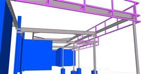 Ocelová konstrukce přístřešku supermarketu