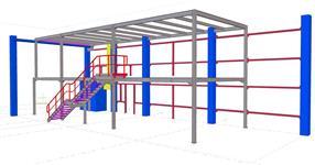 Ocelová konstrukce kancelářského vestavku ve výrobní hale
