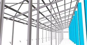 Ocelová konstrukce přístavby krmiště ke stáji