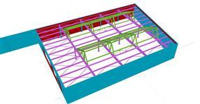 Ocelová konstrukce střechy skladové haly