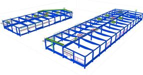 Pomocné ocelové konstrukce železobetonového skeletu prodejny