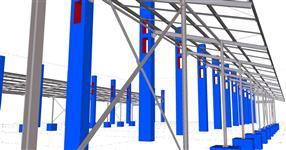 Ocelová konstrukce přístavby pro odchovnu jalovic
