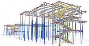 Ocelová konstrukce přístavby patrových nástaveb školních budov
