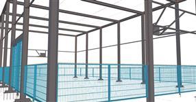 Ocelová konstrukce oplocení veřejného sportovního hřiště