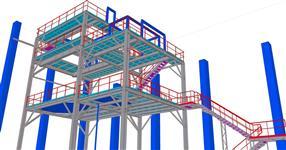 Ocelová konstrukce výrobní linky pro zpracování sypkých hmot