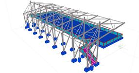 Ocelová konstrukce zastřešení sportovní tribuny