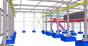 Ocelová konstrukce výrobní haly s jeřábovou dráhou a vestavěnou plošinou