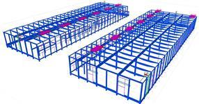 Pomocné ocelové konstrukce pro železobetonový skelet skladových hal
