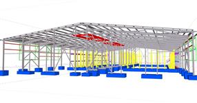 Steel structure of the warehouse hall of agricultural crops