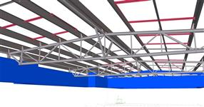 Steel structure of the car workshop roof