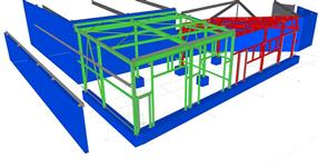 Steel structure of the car showroom extension