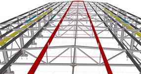 Steel structure of a production hall with a crane way
