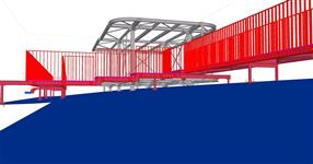 Steel construction of the roof superstructure with access footbridges