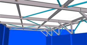 Steel construction of warehouse roofing