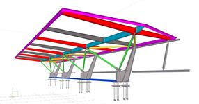Steel structure of the roof of the sports grandstand