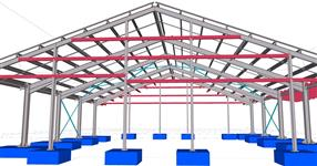 Steel structure of the hall for housing cows