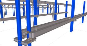 steel structure of the new crane rails inside the production hall