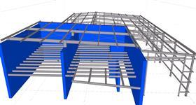 ocelová konstrukce garážové haly a adminstrativní budovy nákladního přepravce