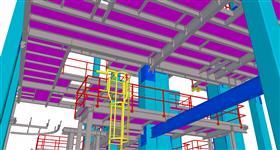 ocelové konstrukce plošin na železobetonovém skeletu budovy s energetickým zařízením
