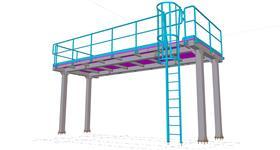 ocelové konstrukce plošiny u technologického zařízení