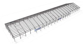 ocelová konstrukce zemědělské haly pro ustájení skotu