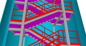 ocelová konstrukce únikového schodiště energetického zázemí metra