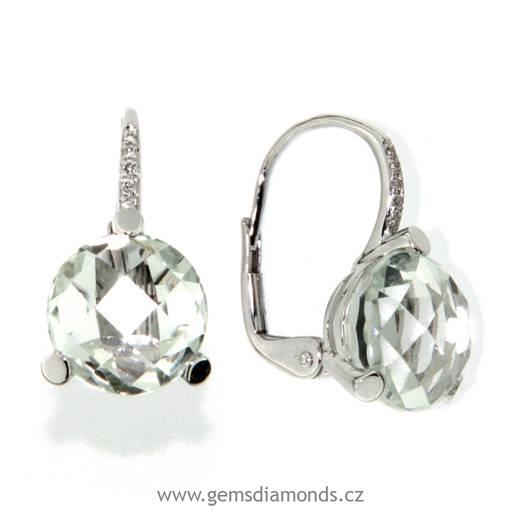 daff29ff2 Náušnice s diamanty, zlaté náušnice s pravým kamenem zelený ametyst ...