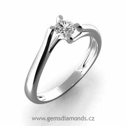 Prsten S Diamantem Bile Zlato 386 0395 Gems Edita Pretis S R O