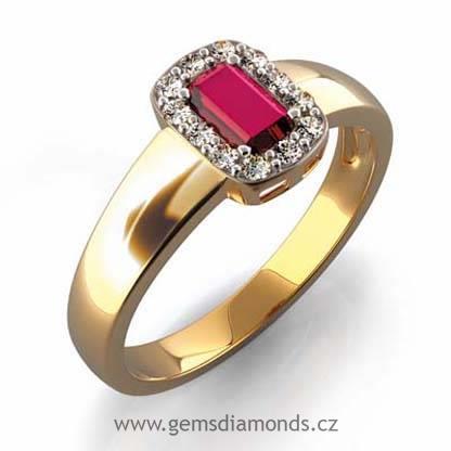 4156988dc GEMS Luxusní prsten s diamanty, rubín, žluté zlato, Josefína 381-0136