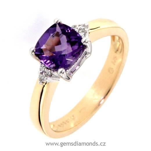 Luxusni Prsten S Diamanty Ametyst Zlute Zlato Pretis S R O