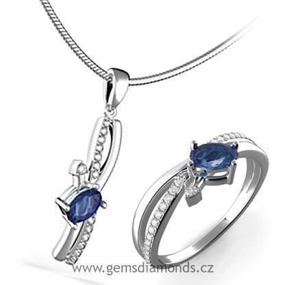 6ed743852 Luxusní souprava s diamanty, modrý safír, bílé zlato, Agata   Pretis ...