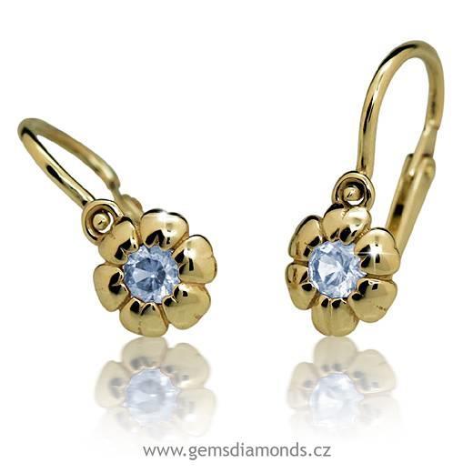 df537a065 Dětské náušnice zlaté světle modrý kamínek C2151-10 | Pretis s.r.o.