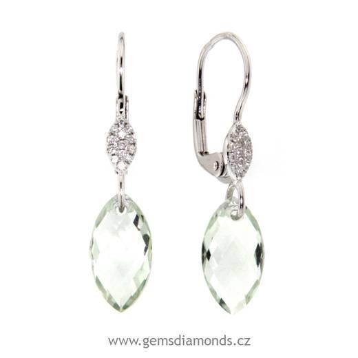 377b10174 Náušnice s diamanty, zelený ametyst, kolekce Breeze, bílé zlato