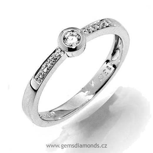 Sperky S Diamantem Zasnubni Prsten S Diamantem Bile Zlato 386