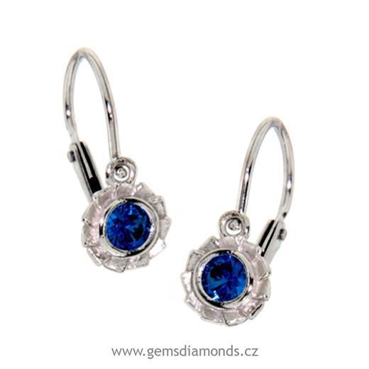 af3206f3c3e Zlaté dětské náušnice s modrým kamínkem
