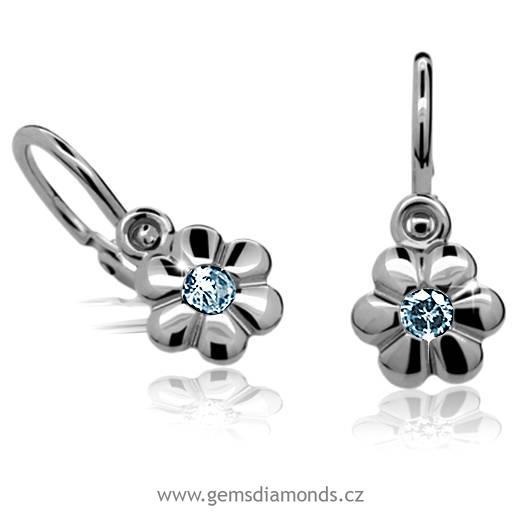 ed85c202ce1 PRETISI šperky zlaté dětské náušnice se světle modrým kamínkem C1736 ...