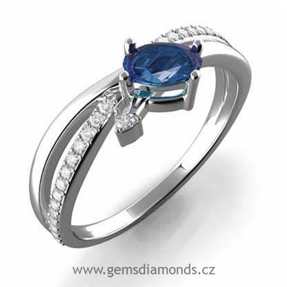 2e1d55087 Luxusní prsten s diamanty, modrý safír, bílé zlato, Agata | Pretis ...